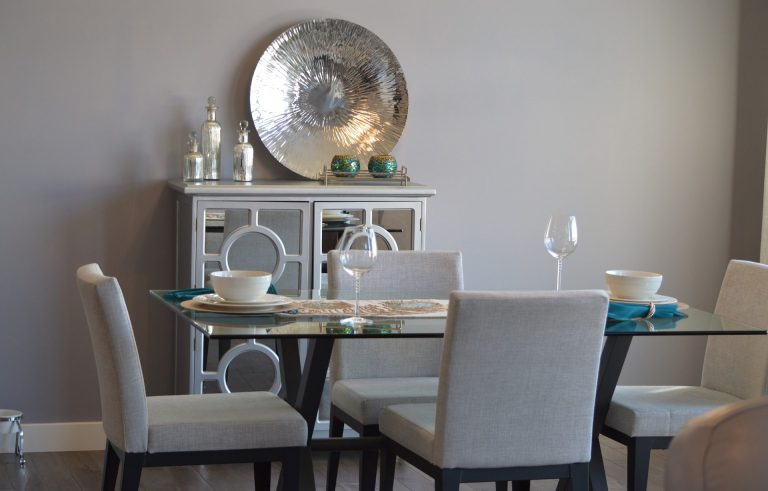 Dining area interiors and decor shown