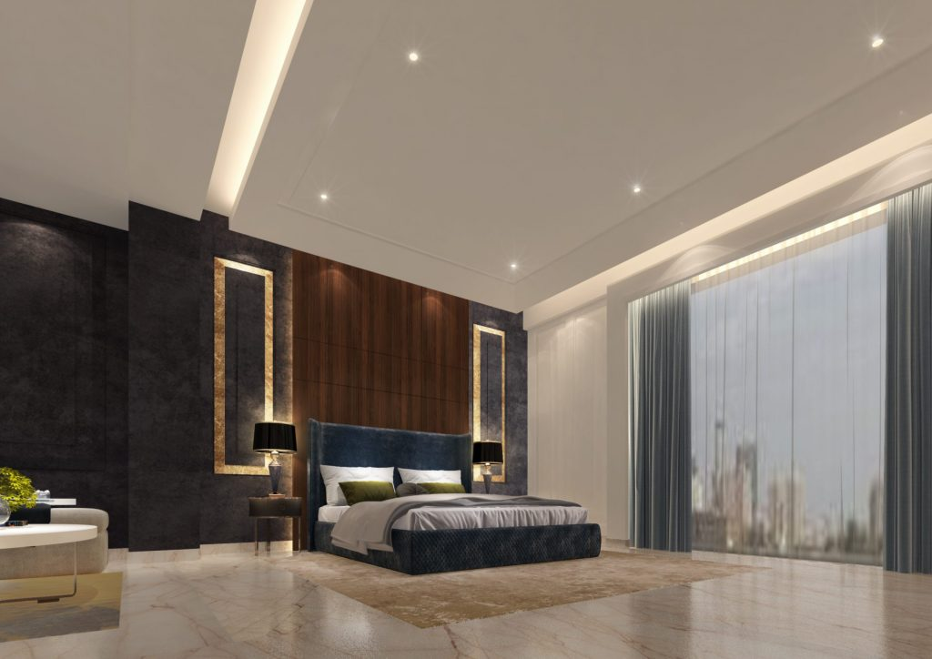 Master bedroom with modern design, large window and ceiling lightings