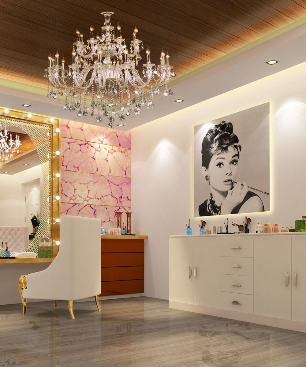 Interiors - Dressing Area with chandelier shown - Best Architecture Consultants in Delhi NCR